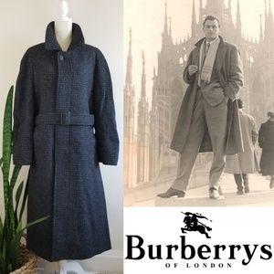 VTG 80s Burberrys Tweed Wool Overcoat